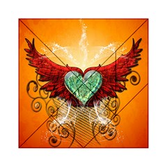 Beautiful Heart Made Of Diamond With Wings And Floral Elements Acrylic Tangram Puzzle (6  x 6 )