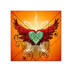 Beautiful Heart Made Of Diamond With Wings And Floral Elements Acrylic Tangram Puzzle (4  X 4 )