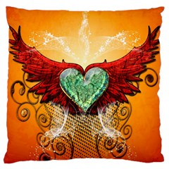 Beautiful Heart Made Of Diamond With Wings And Floral Elements Large Cushion Cases (One Side)