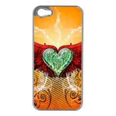 Beautiful Heart Made Of Diamond With Wings And Floral Elements Apple iPhone 5 Case (Silver)