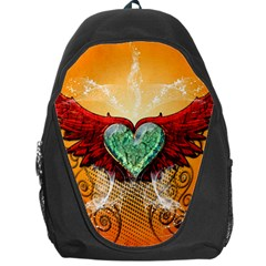 Beautiful Heart Made Of Diamond With Wings And Floral Elements Backpack Bag
