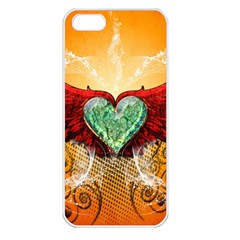 Beautiful Heart Made Of Diamond With Wings And Floral Elements Apple iPhone 5 Seamless Case (White)