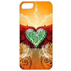 Beautiful Heart Made Of Diamond With Wings And Floral Elements Apple iPhone 5 Classic Hardshell Case