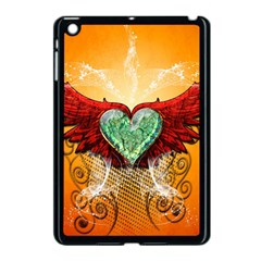 Beautiful Heart Made Of Diamond With Wings And Floral Elements Apple iPad Mini Case (Black)