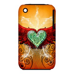 Beautiful Heart Made Of Diamond With Wings And Floral Elements Apple iPhone 3G/3GS Hardshell Case (PC+Silicone)