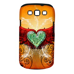 Beautiful Heart Made Of Diamond With Wings And Floral Elements Samsung Galaxy S III Classic Hardshell Case (PC+Silicone)