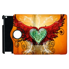 Beautiful Heart Made Of Diamond With Wings And Floral Elements Apple iPad 2 Flip 360 Case