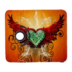 Beautiful Heart Made Of Diamond With Wings And Floral Elements Samsung Galaxy S  III Flip 360 Case