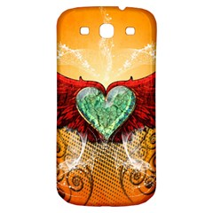 Beautiful Heart Made Of Diamond With Wings And Floral Elements Samsung Galaxy S3 S III Classic Hardshell Back Case