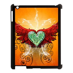Beautiful Heart Made Of Diamond With Wings And Floral Elements Apple iPad 3/4 Case (Black)