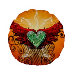 Beautiful Heart Made Of Diamond With Wings And Floral Elements Standard 15  Premium Round Cushions
