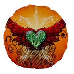 Beautiful Heart Made Of Diamond With Wings And Floral Elements Large 18  Premium Round Cushions