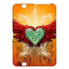 Beautiful Heart Made Of Diamond With Wings And Floral Elements Kindle Fire HD 8.9