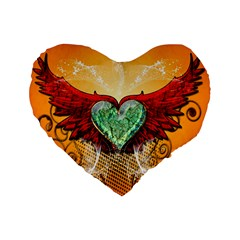 Beautiful Heart Made Of Diamond With Wings And Floral Elements Standard 16  Premium Heart Shape Cushions