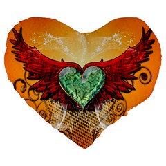 Beautiful Heart Made Of Diamond With Wings And Floral Elements Large 19  Premium Heart Shape Cushions