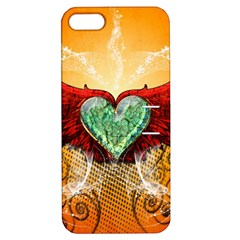 Beautiful Heart Made Of Diamond With Wings And Floral Elements Apple iPhone 5 Hardshell Case with Stand