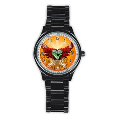 Beautiful Heart Made Of Diamond With Wings And Floral Elements Stainless Steel Round Watches