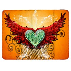 Beautiful Heart Made Of Diamond With Wings And Floral Elements Samsung Galaxy Tab 7  P1000 Flip Case
