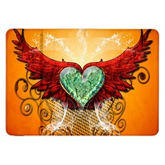 Beautiful Heart Made Of Diamond With Wings And Floral Elements Samsung Galaxy Tab 8.9  P7300 Flip Case