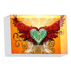 Beautiful Heart Made Of Diamond With Wings And Floral Elements 4 x 6  Acrylic Photo Blocks