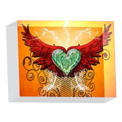 Beautiful Heart Made Of Diamond With Wings And Floral Elements 5 x 7  Acrylic Photo Blocks