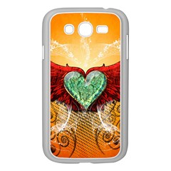 Beautiful Heart Made Of Diamond With Wings And Floral Elements Samsung Galaxy Grand DUOS I9082 Case (White)