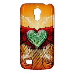 Beautiful Heart Made Of Diamond With Wings And Floral Elements Galaxy S4 Mini