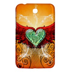 Beautiful Heart Made Of Diamond With Wings And Floral Elements Samsung Galaxy Tab 3 (7 ) P3200 Hardshell Case