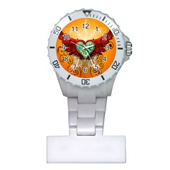 Beautiful Heart Made Of Diamond With Wings And Floral Elements Nurses Watches