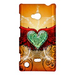 Beautiful Heart Made Of Diamond With Wings And Floral Elements Nokia Lumia 720