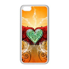 Beautiful Heart Made Of Diamond With Wings And Floral Elements Apple iPhone 5C Seamless Case (White)