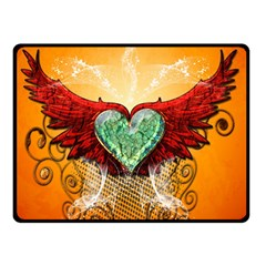 Beautiful Heart Made Of Diamond With Wings And Floral Elements Double Sided Fleece Blanket (Small)