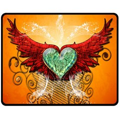 Beautiful Heart Made Of Diamond With Wings And Floral Elements Double Sided Fleece Blanket (Medium)