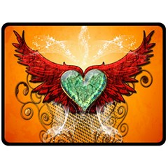Beautiful Heart Made Of Diamond With Wings And Floral Elements Double Sided Fleece Blanket (large)