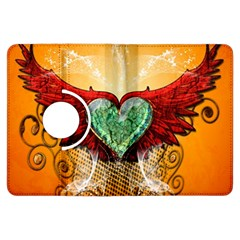 Beautiful Heart Made Of Diamond With Wings And Floral Elements Kindle Fire HDX Flip 360 Case