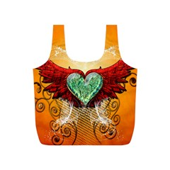 Beautiful Heart Made Of Diamond With Wings And Floral Elements Full Print Recycle Bags (S)
