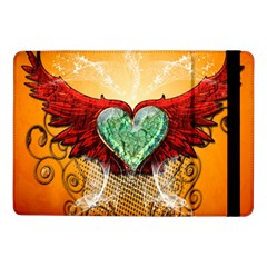 Beautiful Heart Made Of Diamond With Wings And Floral Elements Samsung Galaxy Tab Pro 10.1  Flip Case