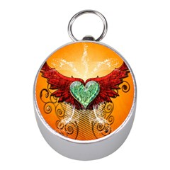 Beautiful Heart Made Of Diamond With Wings And Floral Elements Mini Silver Compasses