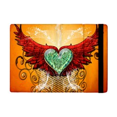 Beautiful Heart Made Of Diamond With Wings And Floral Elements iPad Mini 2 Flip Cases