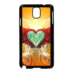 Beautiful Heart Made Of Diamond With Wings And Floral Elements Samsung Galaxy Note 3 Neo Hardshell Case (Black)