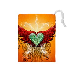 Beautiful Heart Made Of Diamond With Wings And Floral Elements Drawstring Pouches (Medium)