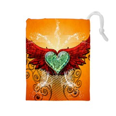Beautiful Heart Made Of Diamond With Wings And Floral Elements Drawstring Pouches (Large)