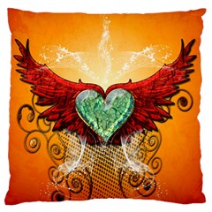 Beautiful Heart Made Of Diamond With Wings And Floral Elements Standard Flano Cushion Cases (Two Sides)