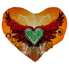 Beautiful Heart Made Of Diamond With Wings And Floral Elements Large 19  Premium Flano Heart Shape Cushions
