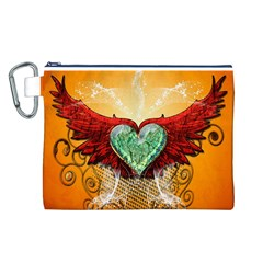 Beautiful Heart Made Of Diamond With Wings And Floral Elements Canvas Cosmetic Bag (L)