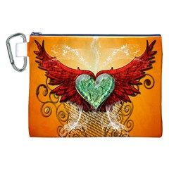 Beautiful Heart Made Of Diamond With Wings And Floral Elements Canvas Cosmetic Bag (XXL)