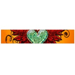Beautiful Heart Made Of Diamond With Wings And Floral Elements Flano Scarf (large)