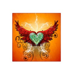 Beautiful Heart Made Of Diamond With Wings And Floral Elements Satin Bandana Scarf