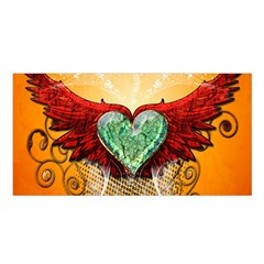 Beautiful Heart Made Of Diamond With Wings And Floral Elements Satin Shawl