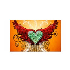 Beautiful Heart Made Of Diamond With Wings And Floral Elements Satin Wrap